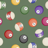 Billiards balls seamless pattern pool or snooker balls with cue ball vector illustration. Pool competition billiards balls gambling hobby recreational tools Royalty Free Stock Photo