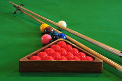 Billiards balls and sticks Stock Photo