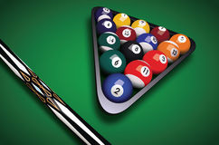 Billiards balls triangle vector illustration