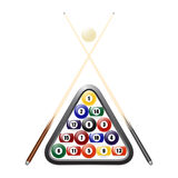 Billiards balls, triangle and two cues Stock Image
