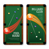 Billiards Banners Set. Billiards vertical banners set with pool room symbols realistic isolated vector illustration stock illustration