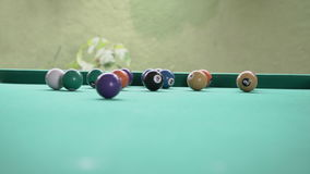 Billiards in a bar. A video of playing pool billiards in a bar stock footage