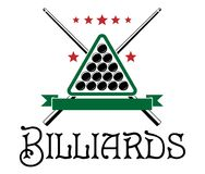 Billiards club emblem. With ball, cue, triangle and text  Billiards isolated on white background Royalty Free Stock Images