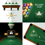 Billiards Concept Icons Set. Billiards realistic concept icons set with club and pool room symbols vector illustration stock illustration