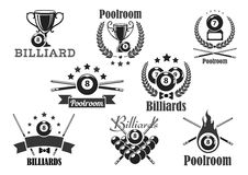 Billiards contest vector icons or emblems set Royalty Free Stock Photography