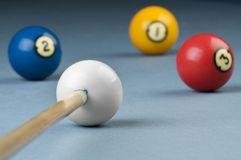 Billiards cue ready for shooting Royalty Free Stock Image