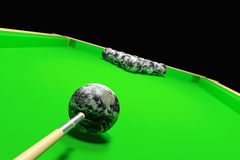 Billiards earth. Planet earth on a green billiard table Stock Photos