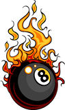 Billiards Eight Ball Flaming Cartoon. Flaming Billiards Eight Ball Cartoon burning with Fire Flames Royalty Free Stock Photo