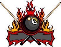 Billiards Eight Ball Flaming Design Template. Flaming Billiards Eight Ball with cue sticks Template burning with Fire Flames vector illustration