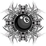 billiards eightball graficzny wizerunek plemienny Zdjęcia Royalty Free