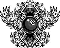 Billiards Eightball Ornate Graphic Template. Billiards or Pool Eight Ball with Ornate Wing Borders Graphic Stock Photos