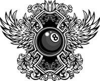 Billiards Eightball Ozdobny Graficzny Szablon Zdjęcia Stock