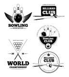 Billiards emblems and bowling vector labels, emblem badges set Stock Photography