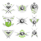 Billiards emblems and design elements. In vector Stock Image
