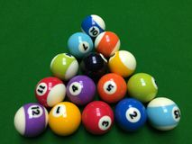 Billiards. Fifteen billiard balls in a triangular shape, this is Chinese billiards Stock Image