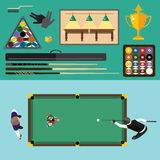 Billiards flat illustration pool game accessories Royalty Free Stock Photo