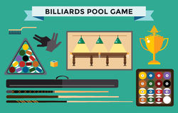 Billiards flat illustration pool game accessories Royalty Free Stock Image
