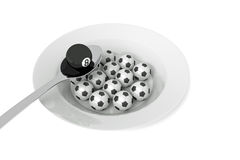 Billiards food: billiard ball and soccer balls with spoon, 3d illustration Royalty Free Stock Photo