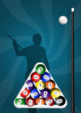 Billiards. Funny illustration of billiard game stock illustration