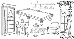 Billiards furniture window outline. Vector sketch set of furniture and accessories for the interior of a billiard room, with a window in a classic style, black Stock Image