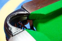 Billiards game. Closeup shot of  billiard pocket Royalty Free Stock Images
