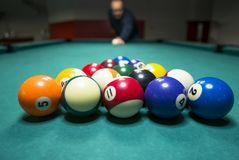 Billiards game pictures. Pictures taken on a billiard `s table Stock Image