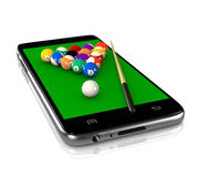 Billiards Game on Smartphone. Billiards Table with Balls and Cue on Smartphone Display 3D Illustration on White Background, Sport and Game App Royalty Free Stock Photo