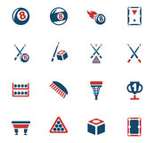 Billiards icon set Royalty Free Stock Photos