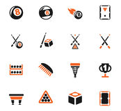 Billiards icon set Stock Photography
