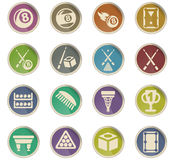 Billiards icon set Stock Photos