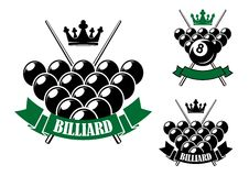 Billiards icons with cues and balls. Billiards or pool icons design with billiard balls in starting position, crossed cues on the background, crowns and ribbon Stock Images
