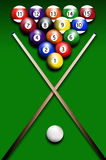Billiards. Illustration of billiards balls on green background Royalty Free Stock Photo