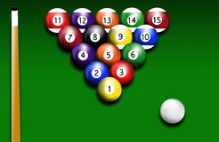 Billiards. Illustration of billiards balls on green background Stock Photography