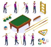 Billiards Isometric Icons Collection royalty free illustration