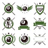 Billiards labels and icons set. Vector. Snooker labels and icons set stock illustration