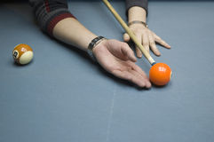 Billiards lesson. A billiards lesson on how to hit the ball stock images