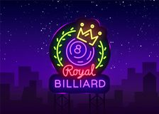 Billiards neon sign. Royal Billiards logo in neon style, light banner, design template emblem night billiard, bright royalty free illustration