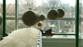 Billiards pills balls are hanging in pendulum effect. 4k UHD stock video footage