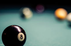 Billiards plastic balls on table Stock Image