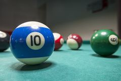 Billiards play pictures. Pictures taken on a billiard `s table Royalty Free Stock Image