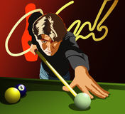 Billiards player. The club life. Man playing billiards. Vector Royalty Free Stock Images