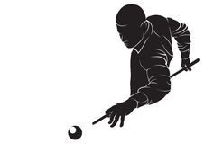 Billiards player. Vector silhouette, isolated on white Stock Images