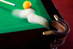 Billiards pocket. The sphere which slides in a billiards pocket Stock Photo