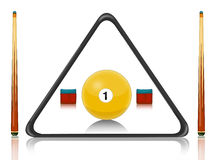 Billiards pool. Illustration of billiards equipment with number ball Royalty Free Stock Images