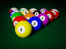 Billiards pool balls on table racked Royalty Free Stock Photography