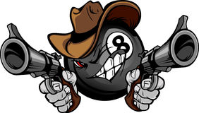 Billiards Pool Eight Ball Shootout Cartoon Cowboy. Cartoon image of a Billiards Eightball with a face and cowboy hat holding and aiming guns Royalty Free Stock Photos