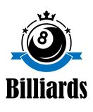Billiards and pool emblem. Billiards or pool emblem with ball crown banner, stars and text Billiards. Suitable for sport, recreation and logo design vector illustration