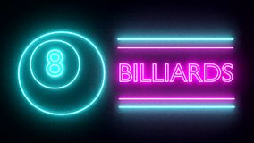 Billiards pool neon sign lights logo text glowing multicolor stock footage