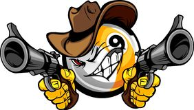 Billiards Pool Nine Ball Shootout Cartoon Cowboy. Cartoon image of a Billiards Nine Ball with a face and cowboy hat holding and aiming guns Royalty Free Stock Image