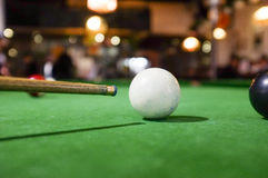 Billiards of Pool. A set of billiards or pool balls on a green flet table with copy space stock photography